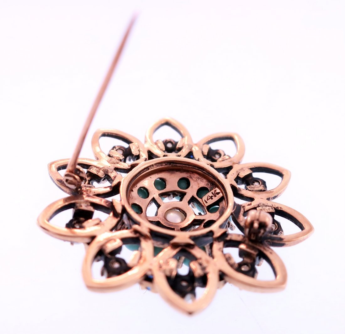 14K Turquoise, Pearl and Sapphire Pin - 3