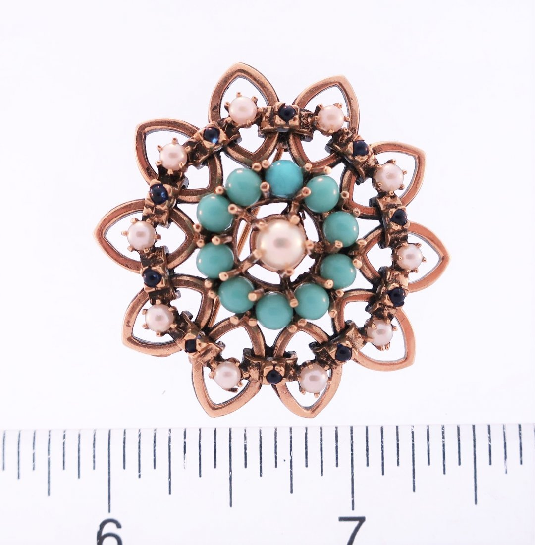 14K Turquoise, Pearl and Sapphire Pin - 4