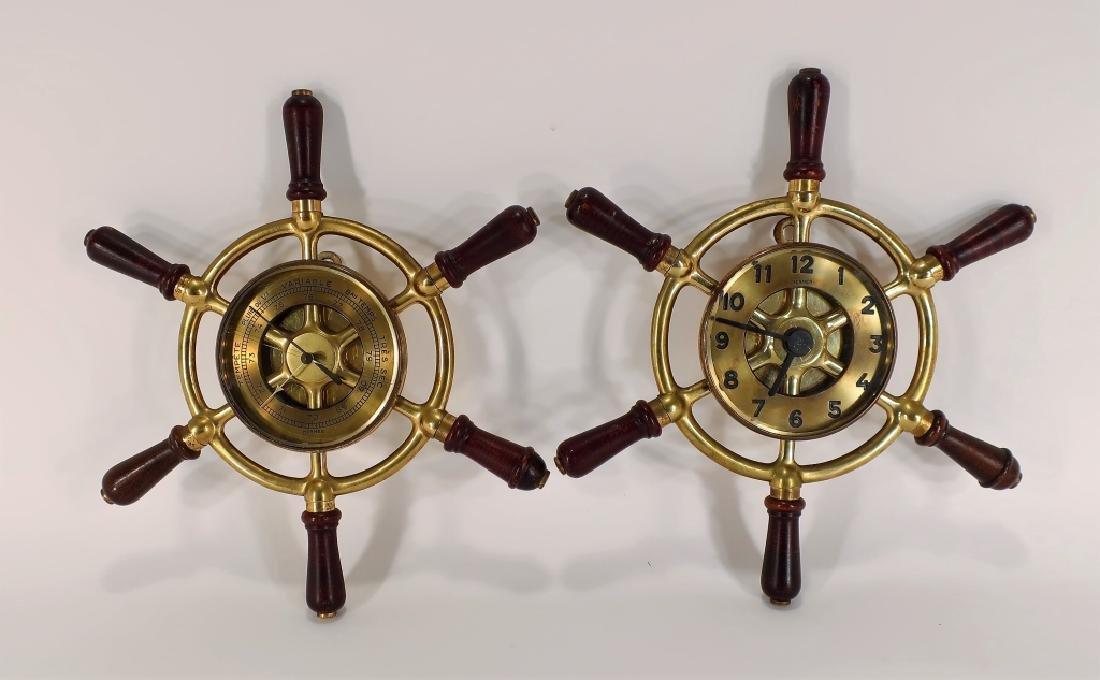 Hermes Ships Wheel Clock/Barometer,c.1950