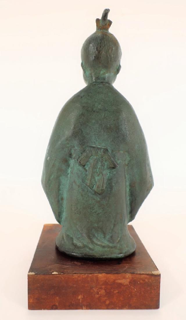 Japanese Bronze of Child,  20th C., Signed - 3
