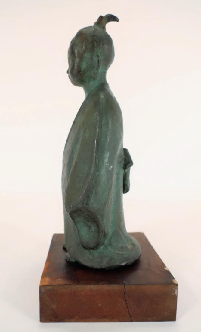 Japanese Bronze of Child,  20th C., Signed - 4