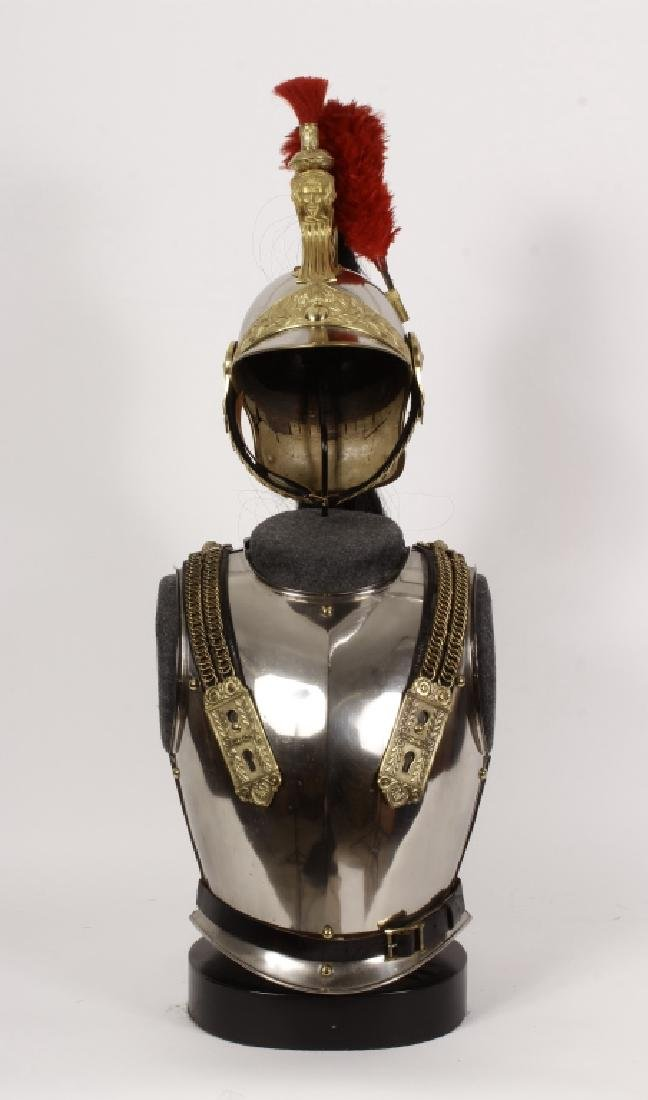 19th c. French Brass/Steel Helmet & Breastplate