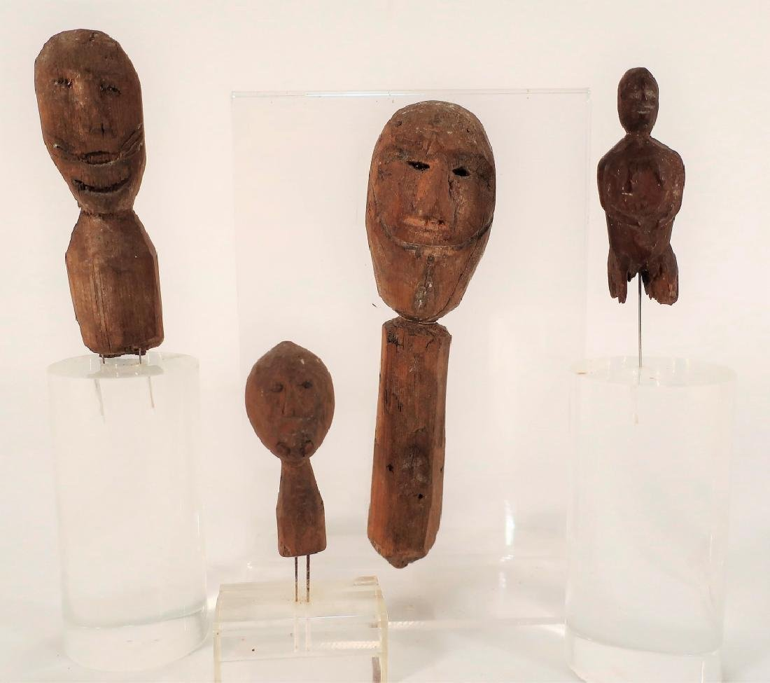4 Rare Inuit Wood Figures/Dolls, 19th C & Earlier