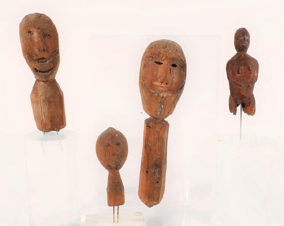 4 Rare Inuit Wood Figures/Dolls, 19th C & Earlier - 2