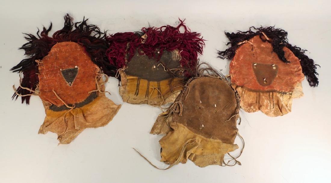 4 Navajo Yei Dance Masks, mid 20th C.