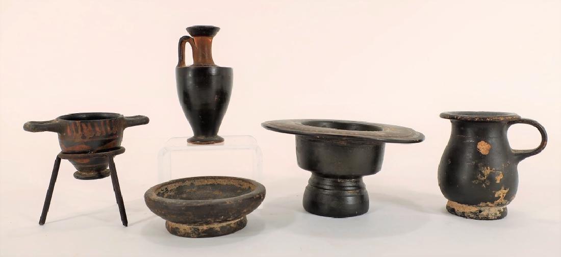5 Ancient Blackware Vessels, Magna Graeca, 350 BC