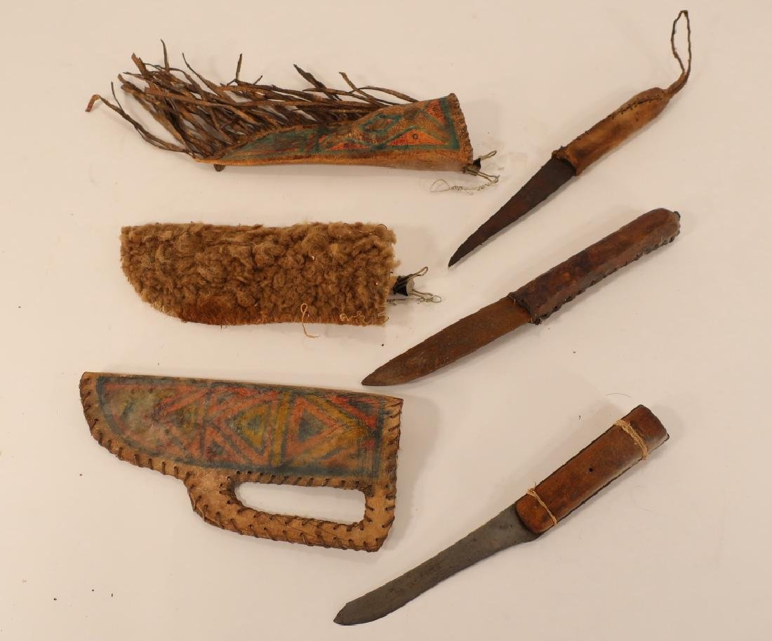 3 Native American Hunting Knives in Sheath, 19th C - 3