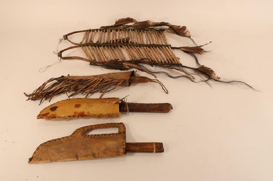 3 Native American Hunting Knives in Sheath, 19th C - 4