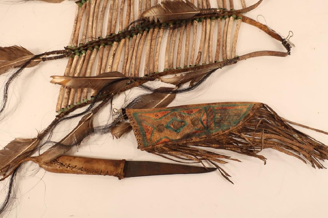 3 Native American Hunting Knives in Sheath, 19th C - 5