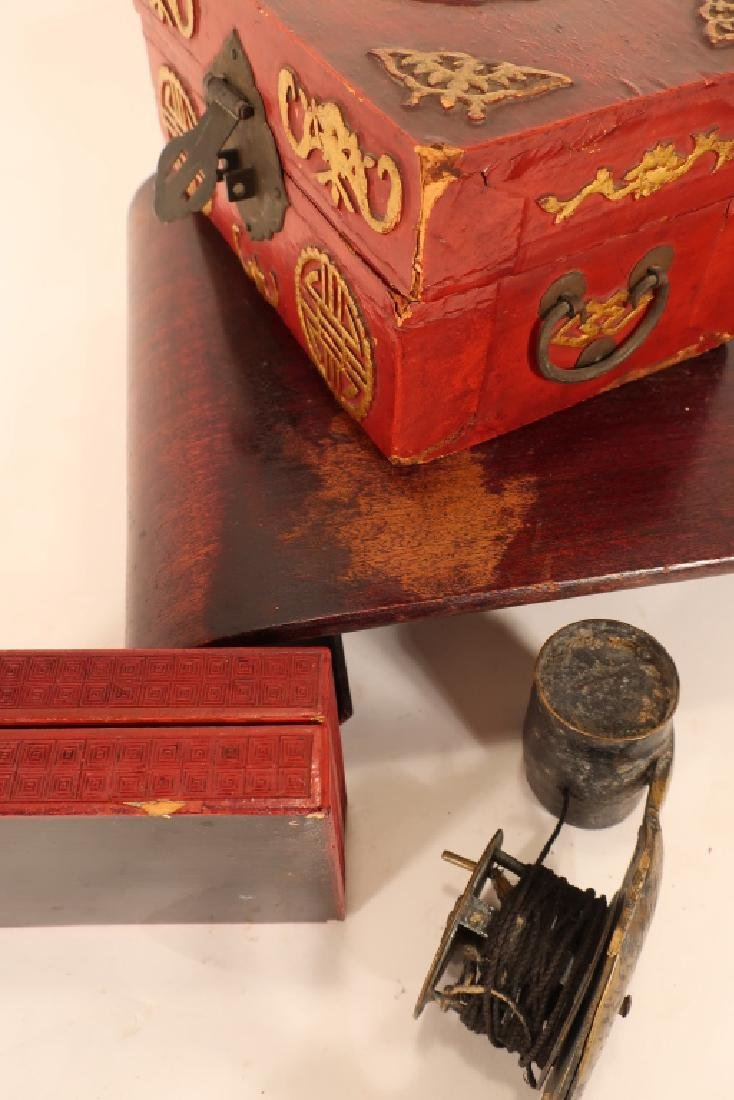 Group of Chinese Items, Stand, Boxes Fishing Reel - 6