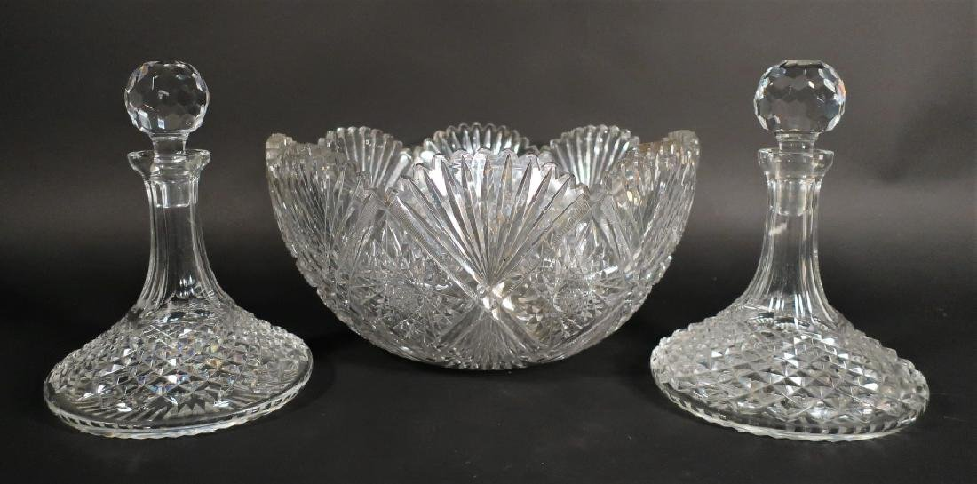 Cut glass punch bowl and 2 decanters