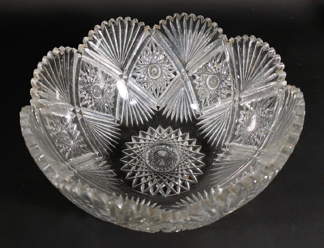 Cut glass punch bowl and 2 decanters - 2