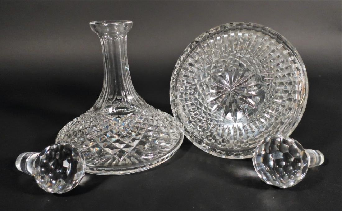 Cut glass punch bowl and 2 decanters - 4