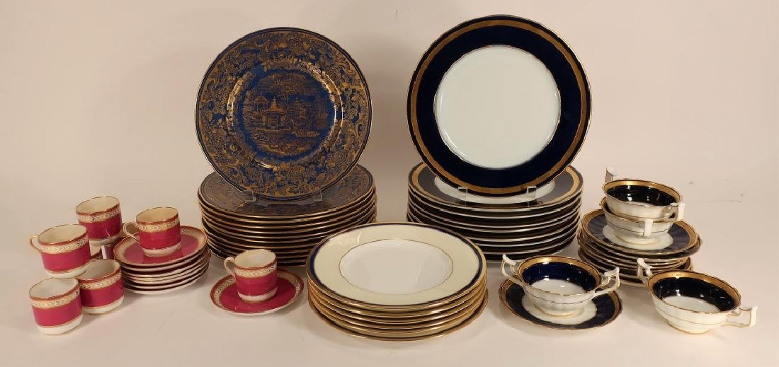12 Cobalt and gilt Wedgwood plates, etc.