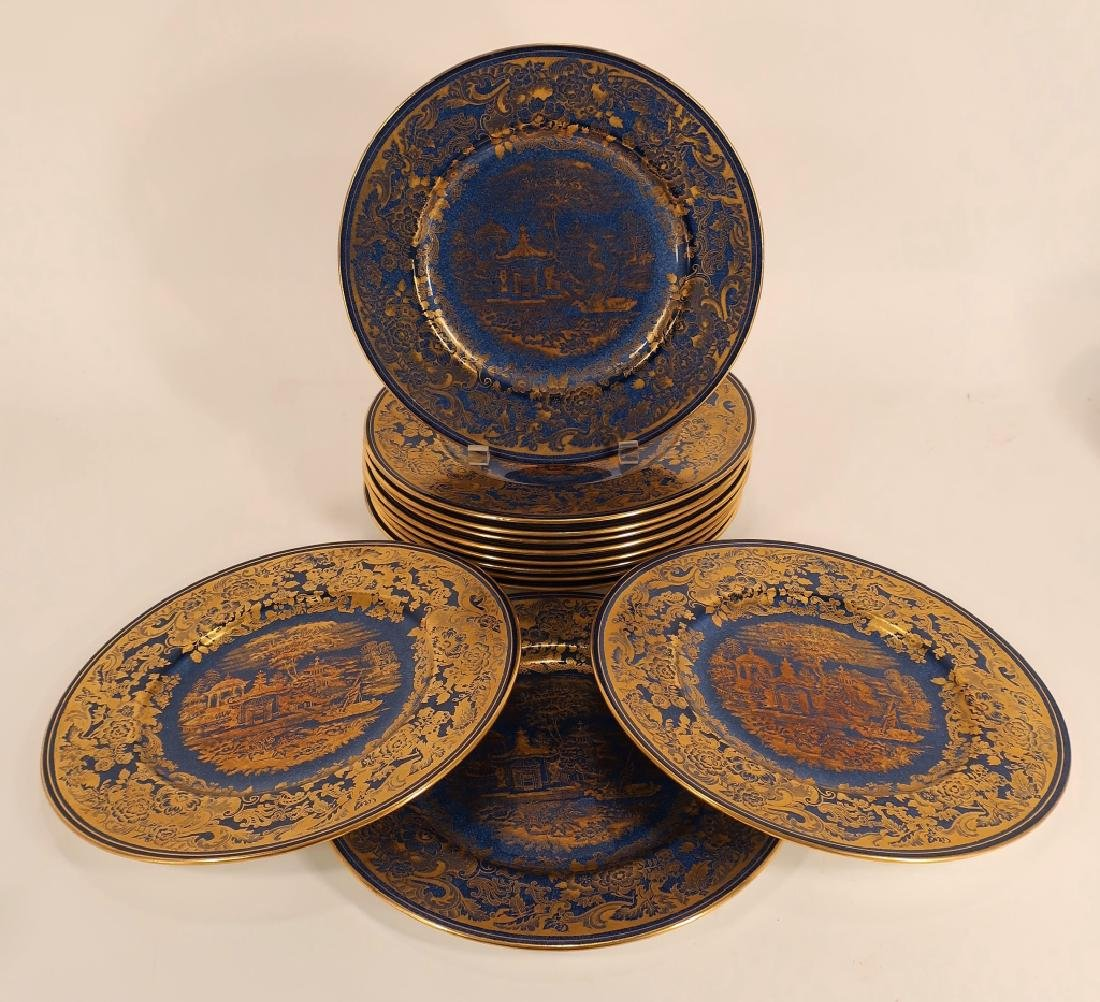 12 Cobalt and gilt Wedgwood plates, etc. - 2
