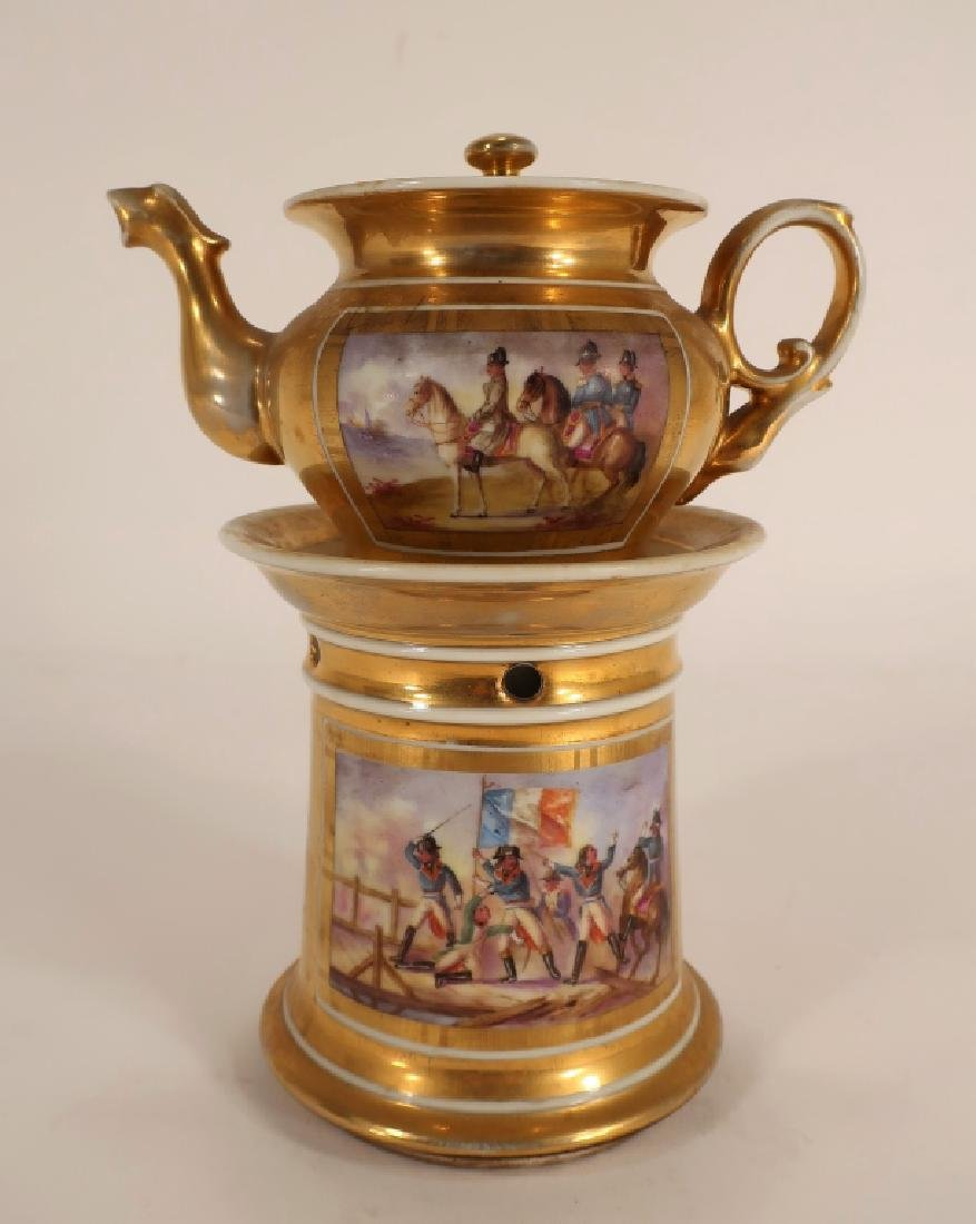 Napoleonic hand painted teapot with stand