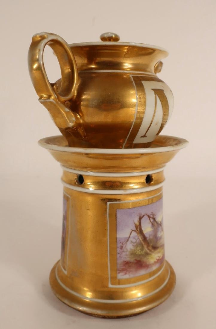 Napoleonic hand painted teapot with stand - 2