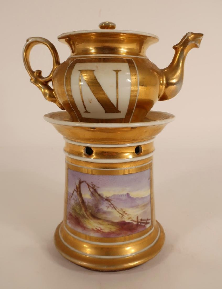 Napoleonic hand painted teapot with stand - 3