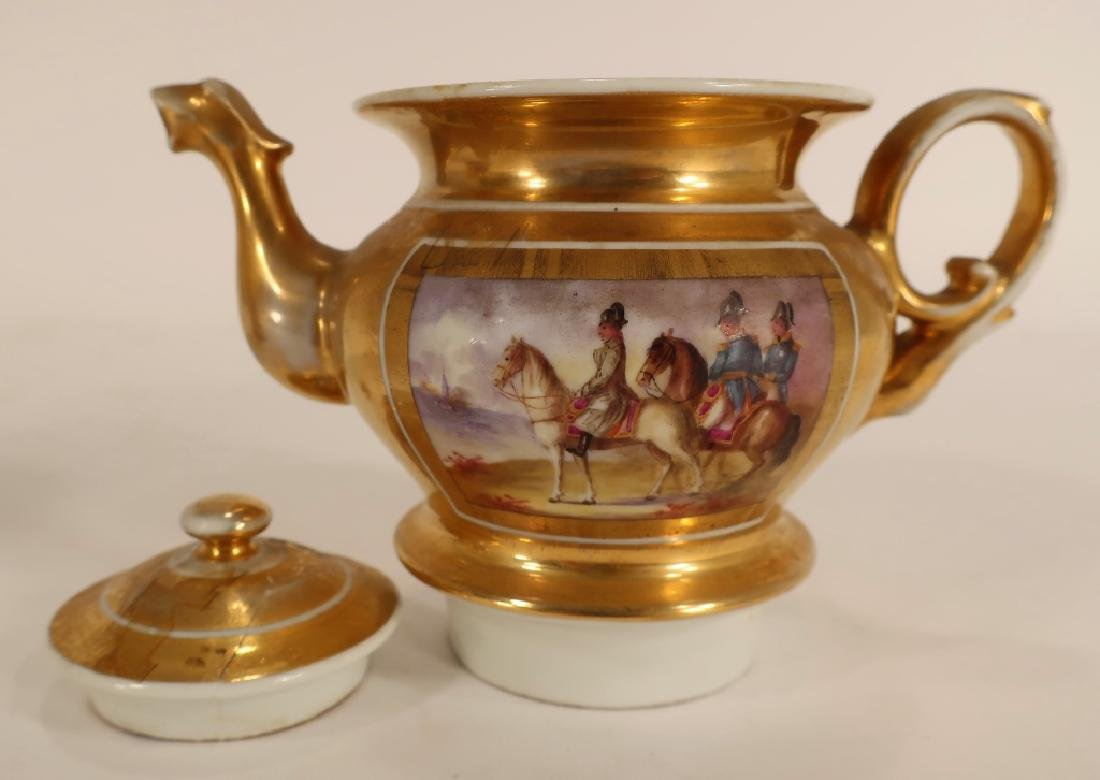 Napoleonic hand painted teapot with stand - 4