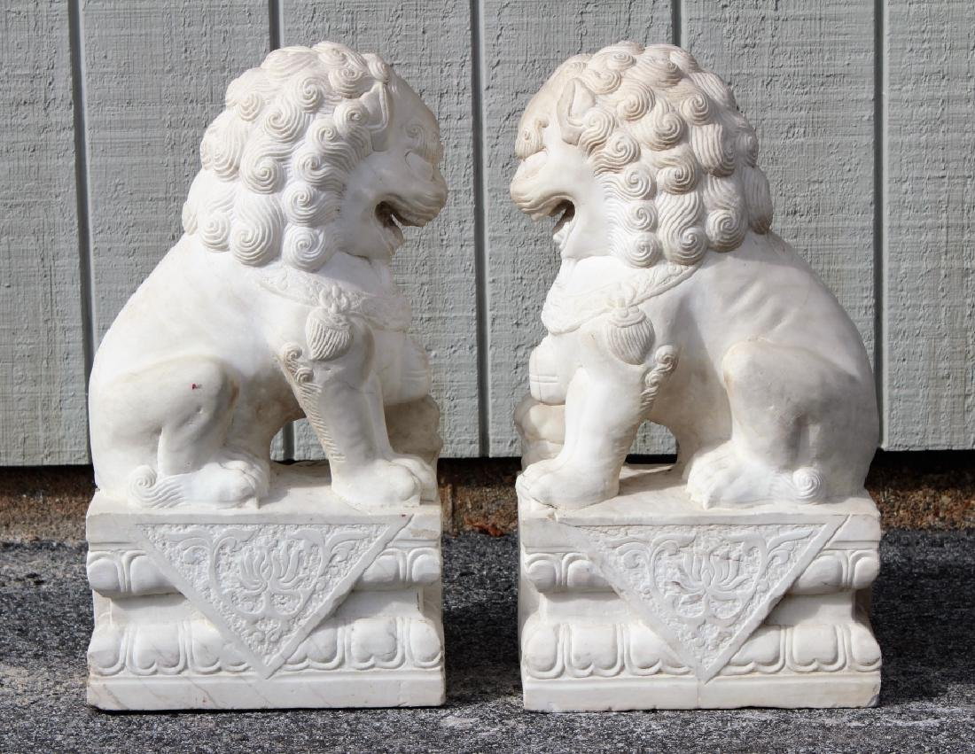Pair of Marble Foo Dogs