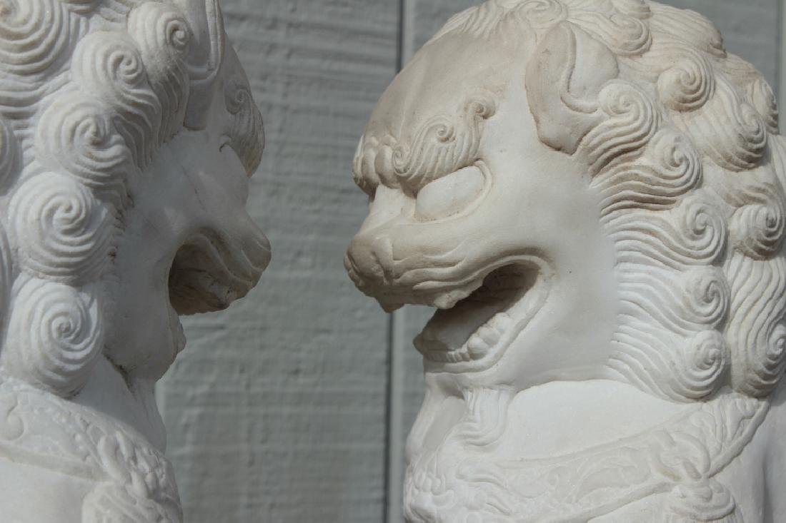 Pair of Marble Foo Dogs - 2