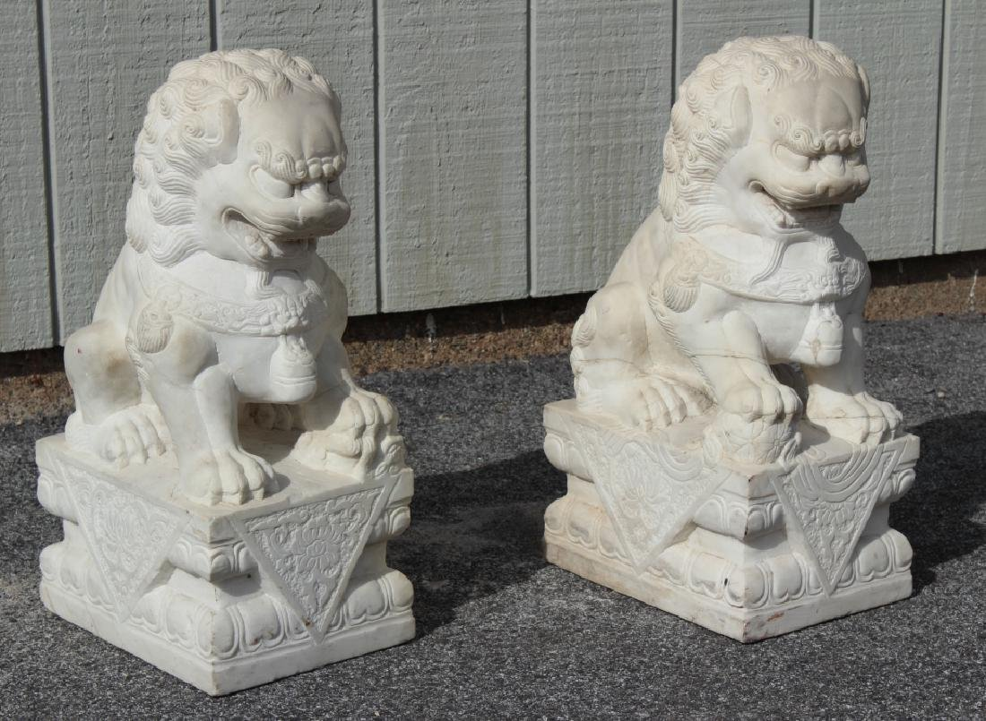 Pair of Marble Foo Dogs - 4