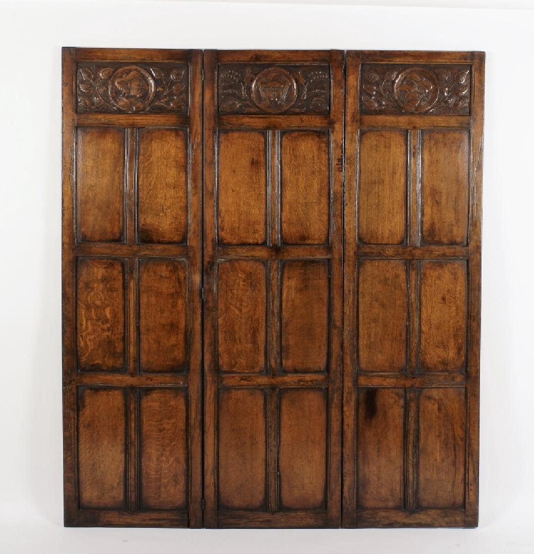18th C. Continental Oak Wood Carved 3 Panel Screen