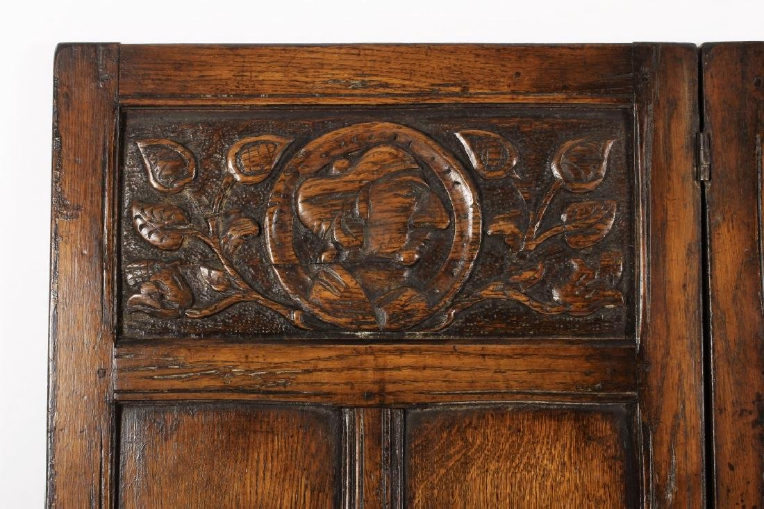 18th C. Continental Oak Wood Carved 3 Panel Screen - 2