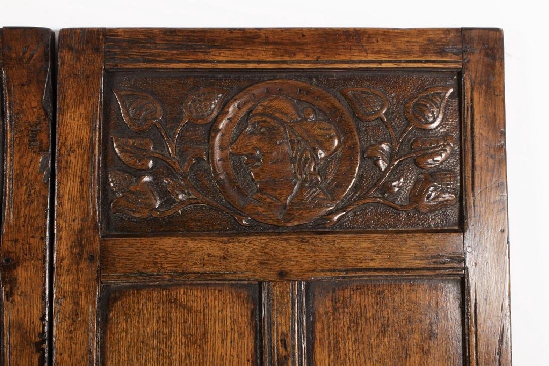 18th C. Continental Oak Wood Carved 3 Panel Screen - 4