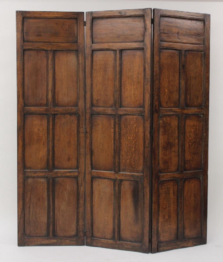 18th C. Continental Oak Wood Carved 3 Panel Screen - 6