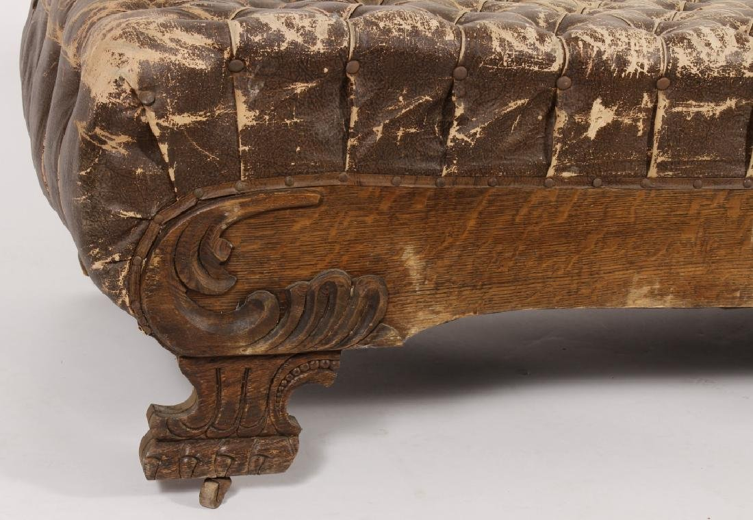 18th/19th Carved Oak Chaise w Faux Leather Fabric - 2