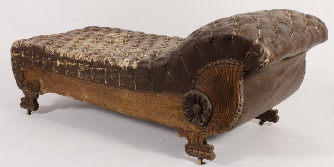 18th/19th Carved Oak Chaise w Faux Leather Fabric - 5