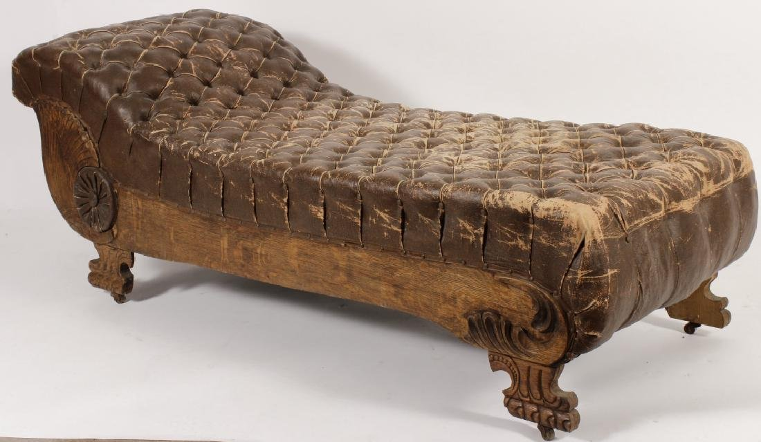 18th/19th Carved Oak Chaise w Faux Leather Fabric - 6