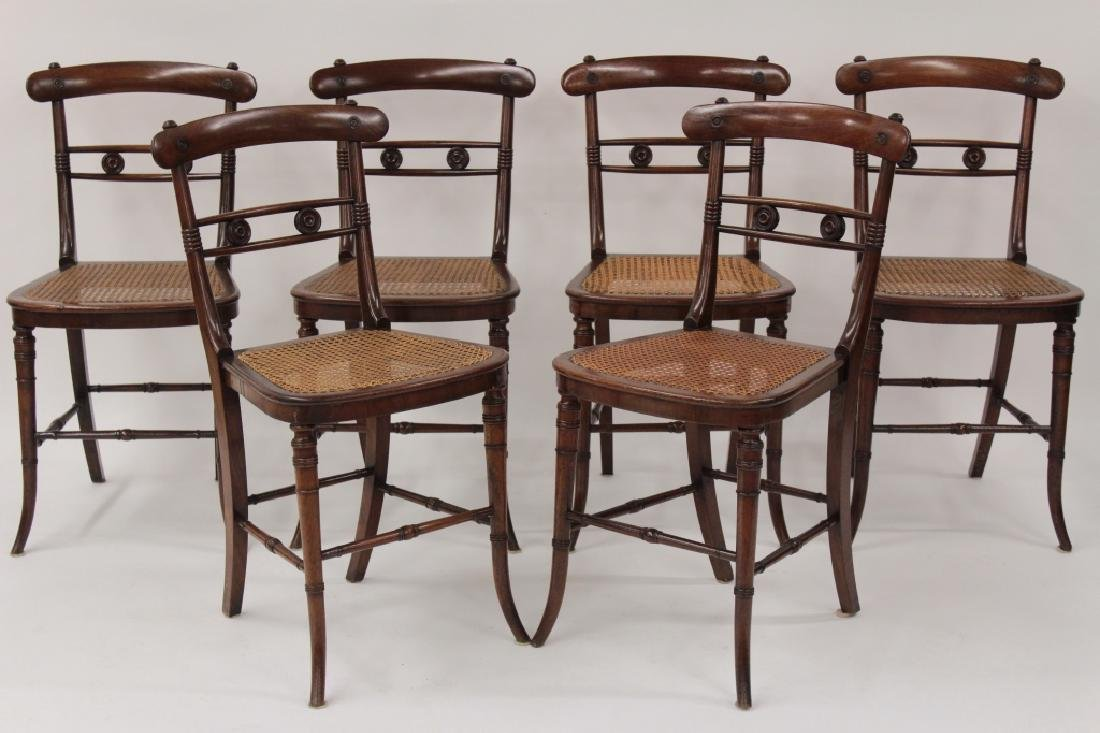6 Victorian Mahogany Wood and Caned Side Chairs