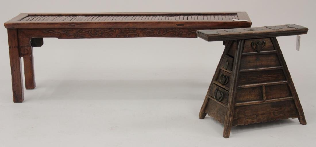 Chinese Barber Bench with Carved Bench,20th
