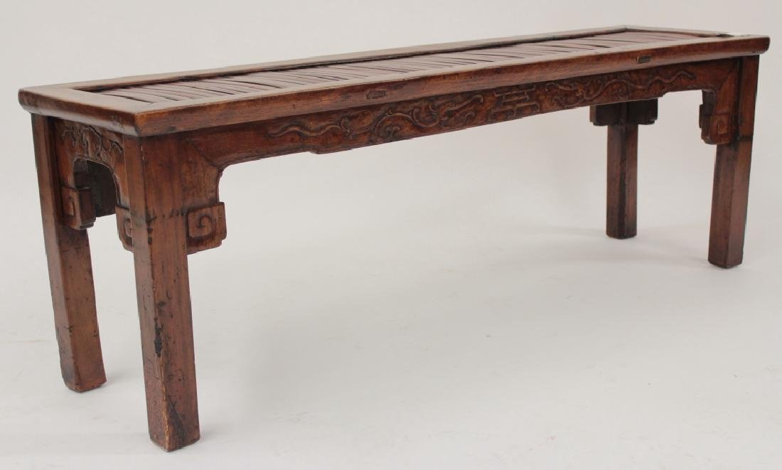Chinese Barber Bench with Carved Bench,20th - 2