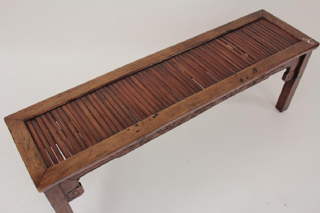 Chinese Barber Bench with Carved Bench,20th - 4