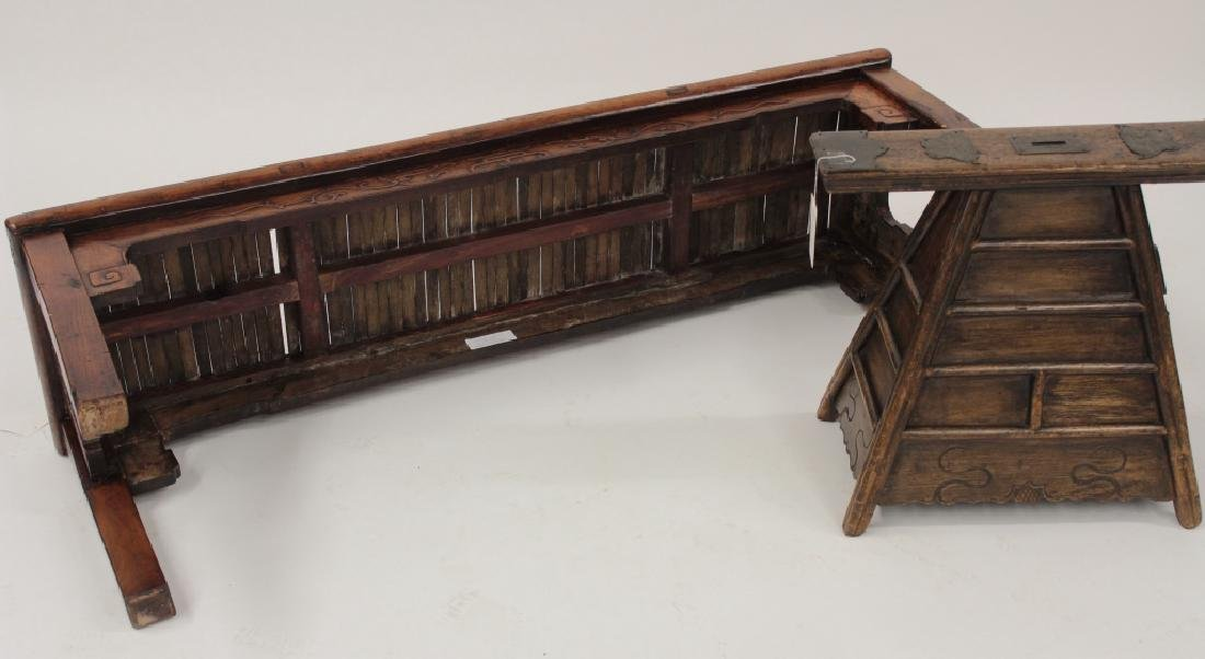 Chinese Barber Bench with Carved Bench,20th - 8