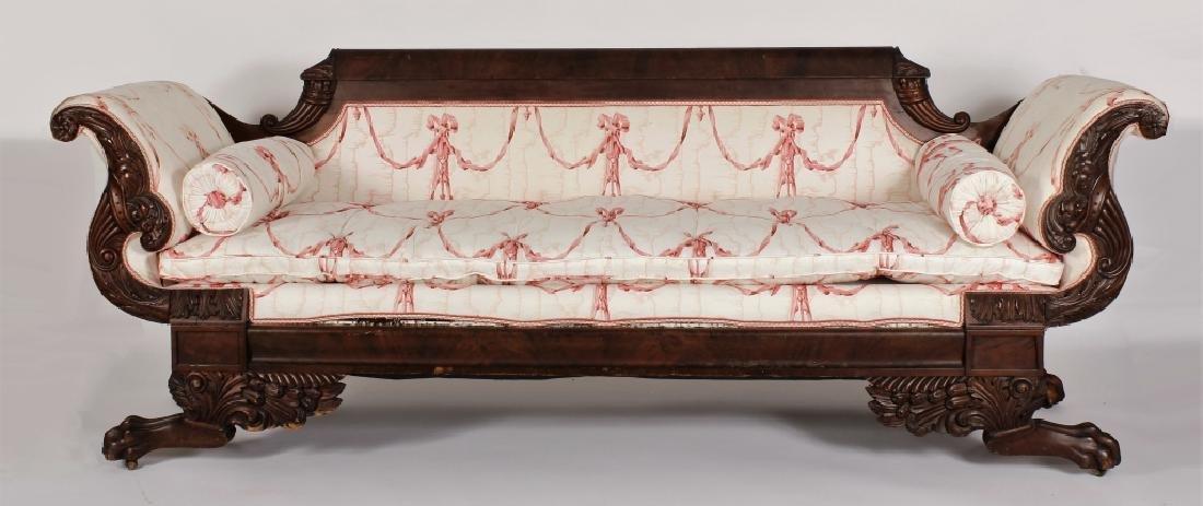 Late Empire Mahogany Carved/Upholstered Sofa