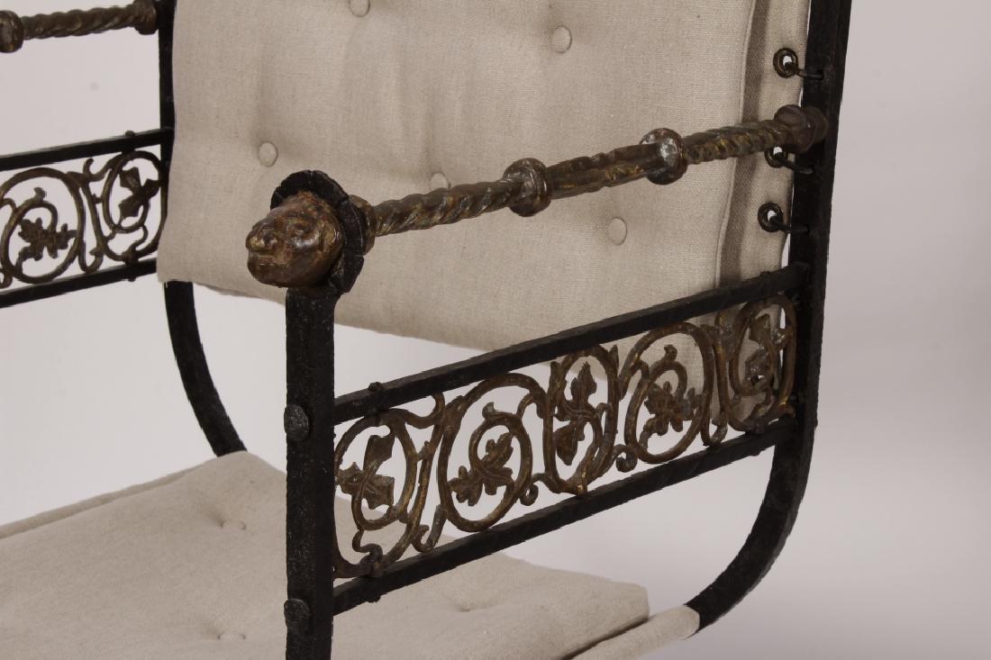 Pr. of Oscar Bach Bronze/ Iron Throne Arm Chairs - 2