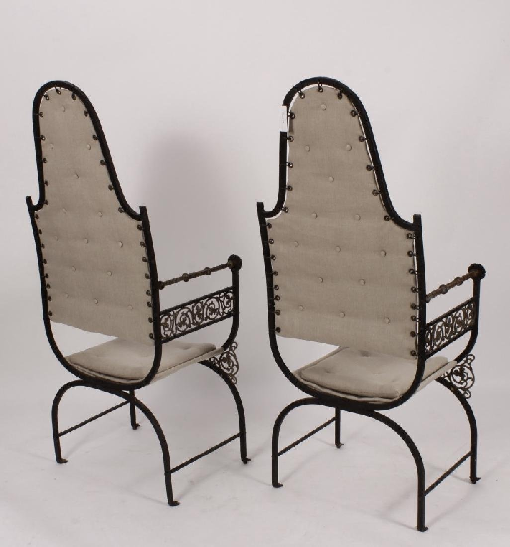 Pr. of Oscar Bach Bronze/ Iron Throne Arm Chairs - 5