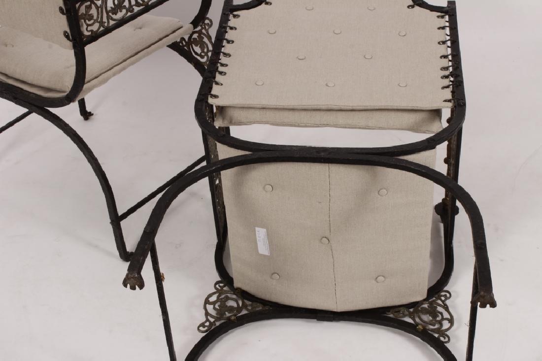 Pr. of Oscar Bach Bronze/ Iron Throne Arm Chairs - 6