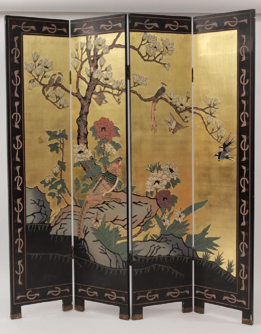 Chinese 4 Panel Laquered and Gilt Screen