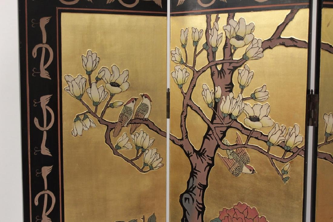 Chinese 4 Panel Laquered and Gilt Screen - 2