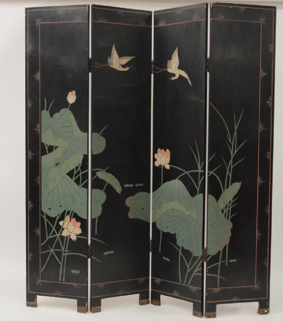 Chinese 4 Panel Laquered and Gilt Screen - 7