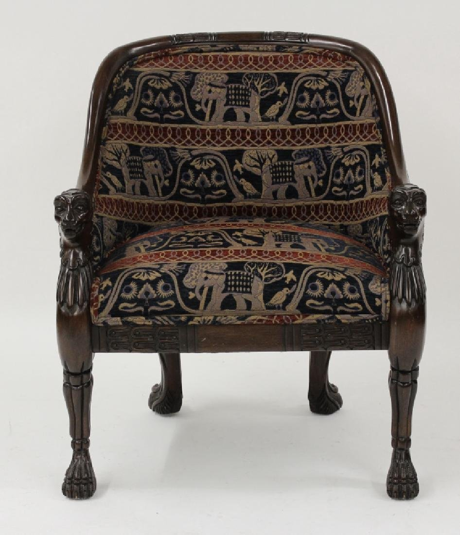 Asian Inspired Wood Carved/Upholstered Chair