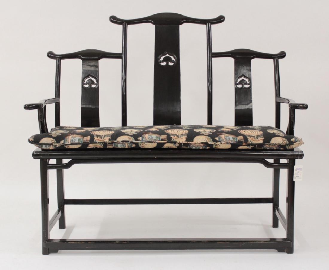 Chinese Ming Style Yoke Back 3 Seat Settee