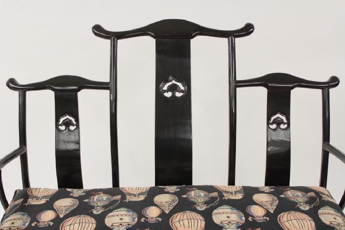 Chinese Ming Style Yoke Back 3 Seat Settee - 2