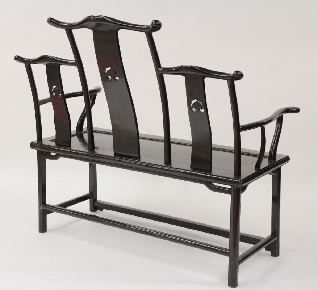 Chinese Ming Style Yoke Back 3 Seat Settee - 6