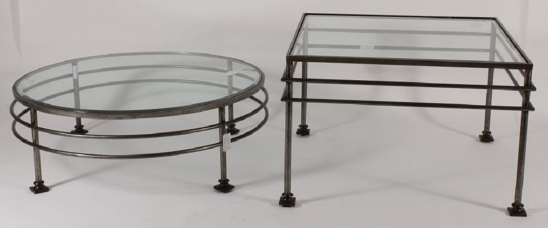 Two Glass and Steel Tables One Square & One Round